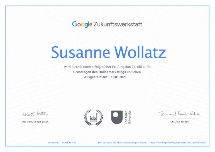 Zertifikat Google Online-Marketing